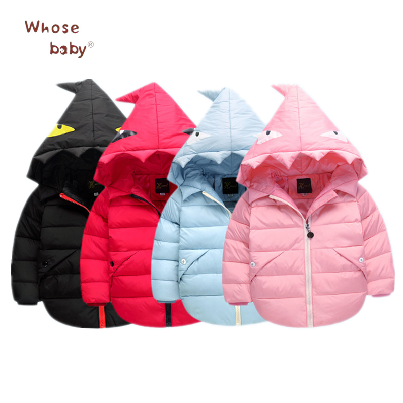 2017 Winter Girls Boys Down Jacket Toddler Monster Hooded Outwear Fashion Kids Clothes Warm Snowsuit Cardigan Children Clothing 2016 winter boys wadded jacket kids hooded spider printed thick fleece red blue coat toddler warm outwear children clothes 2 4t