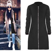 Female Casual Spring  2018 Black Gray Outerwear Warm Coat Women Long Coats Round Neck Collar Overcoat