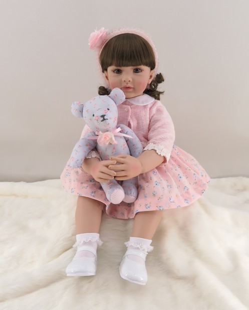 60cm Silicone Reborn Toddler Girl Baby Doll Lifelike Vinyl Pink Princess Toy With Bear Birthday Gift