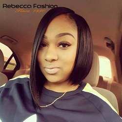 Rebecca левой боковой части Ombre Синтетические волосы на кружеве человеческих волос парики для черный Для женщин Бразильский прямые волосы