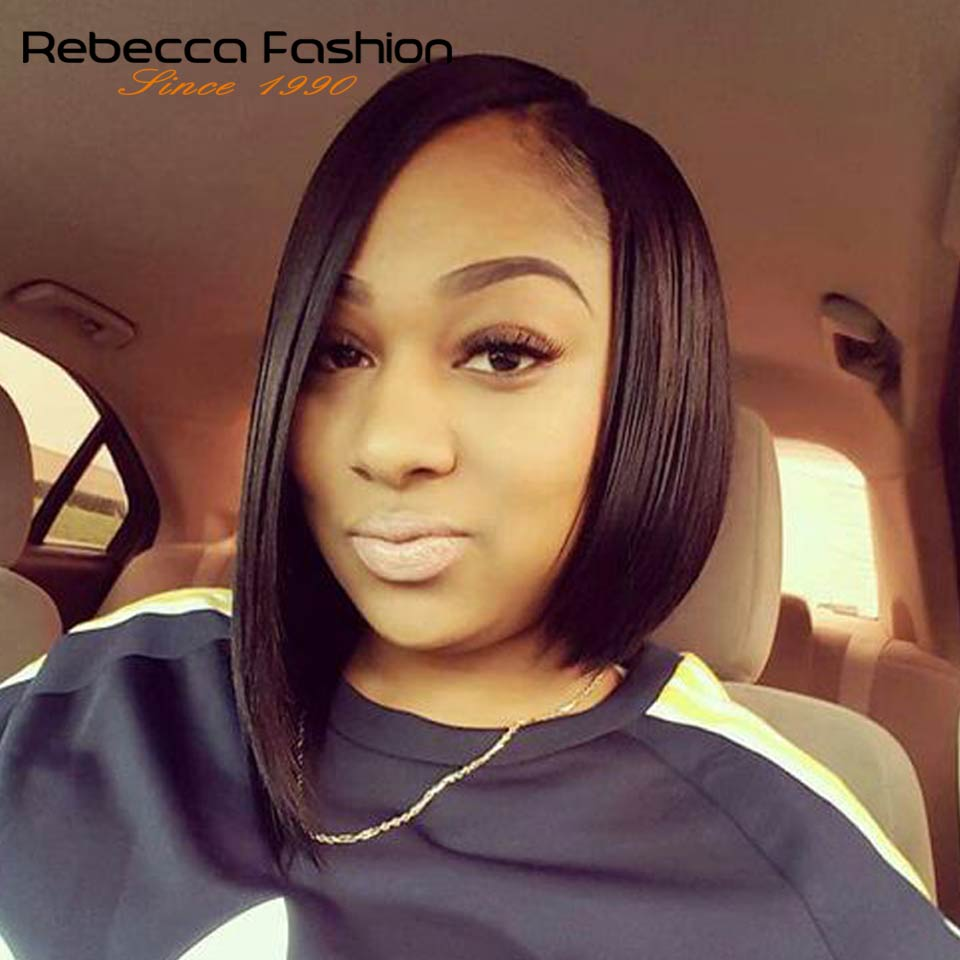Rebecca Left Side Part Ombre Lace Front Human Hair Wigs For Black Women Brazilian Remy Straight Hair Short Bob Wig 12