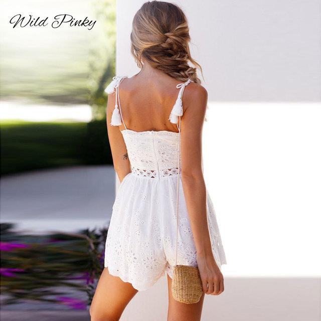 Deep V-neck White Lace Jumpsuit