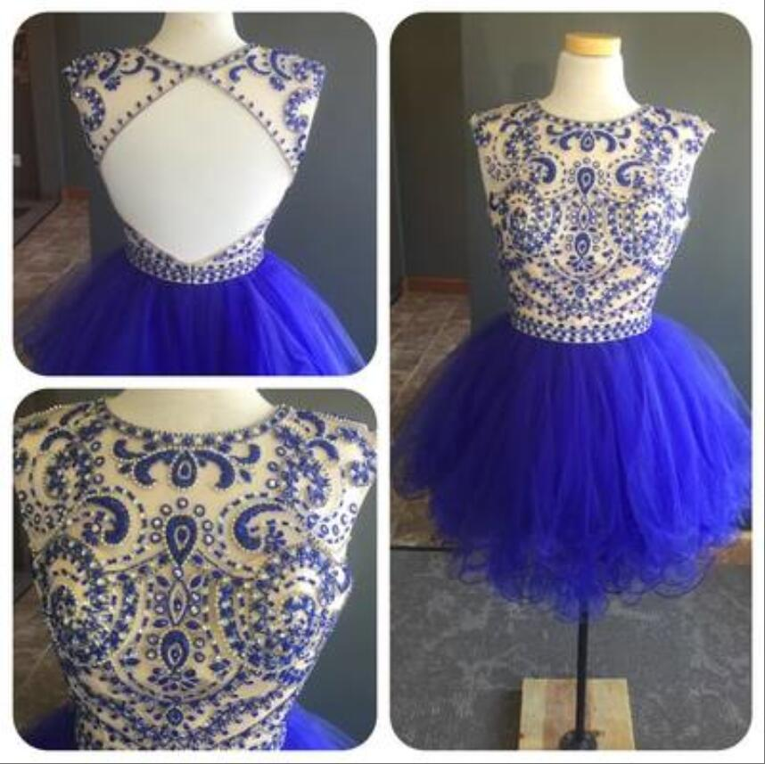 Sexy Open Back Royal Blue Short   Cocktail   Party   Dresses   Beaded Crystals A-line Jewel Knee Length   Cocktail     Dresses   Cheap Price
