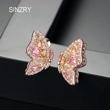 SINZRY rose gold color CZ butterfly Stud Earrings creative colorful sweety ear pins for women Brincos Bijoux