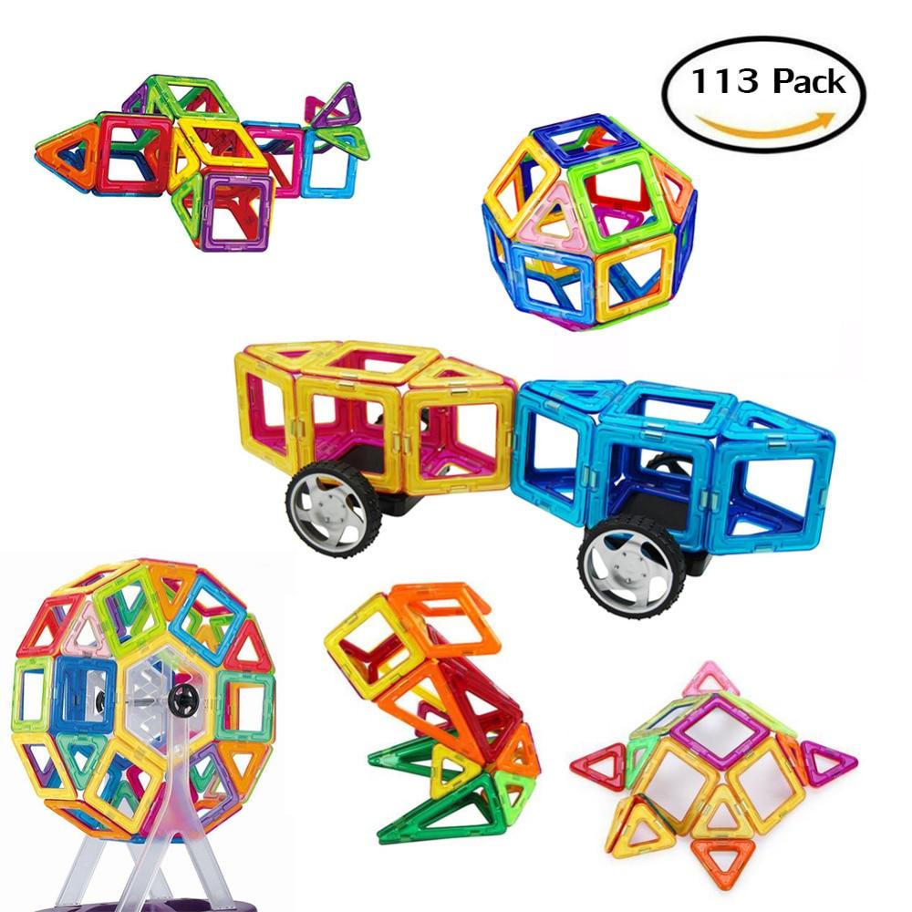 113 Pieces Strongest Magnets Toys Blocks Building Tiles