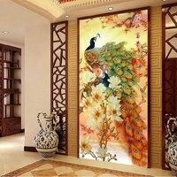 [Super promo] 120*65 cm Couture, BRICOLAGE point de Croix, kit de Broderie, Or Fortune paix imprimé oiseaux motif paon CrossStitch décor