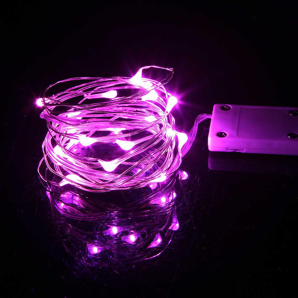 1M 2M luces de Navidad impermeable cobre mini Hada cadena lámpara de decoración de luz para el hogar, boda operada por batería CR2032