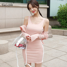 2 Piece Set Women Summer Pink Long Sleeve O-neck Knitting Casual Top and Wrap Boho Korean Club Mini Dress Two Piece Set Ladies 2 piece set women summer pink long sleeve o neck knitting casual top and wrap boho korean club mini dress two piece set ladies