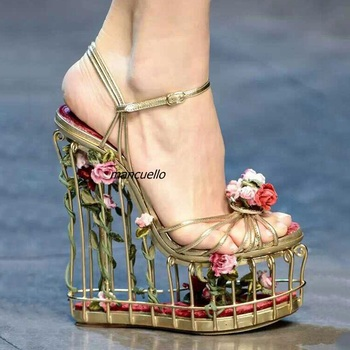 Unique New Design Metal Cut-out Caged Heel Sandals Women Rose Flowers Decoration Line Buckle Style Wedge Dress Sandals PartyShoe leather
