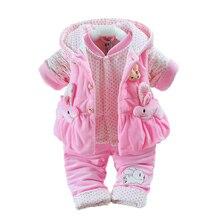 Новорожденных Фланель одежда комбинезон для мальчиков, для малышей Девушки утолщаются теплый комбинезон пижамы бархатный жилет + пальто + брюки Дети младенческой 3 шт. W139