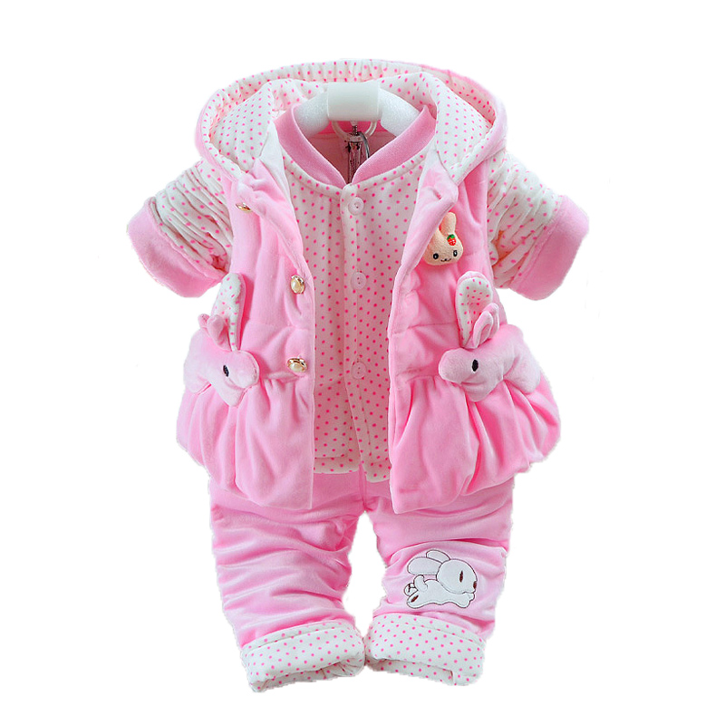 Newborn Flannel Clothes Baby Boys Jumpsuit Girls Thicken Warm Rompers Pajamas Plus velvet Vest+Coat+ Pants Kids Infant 3Pcs W139