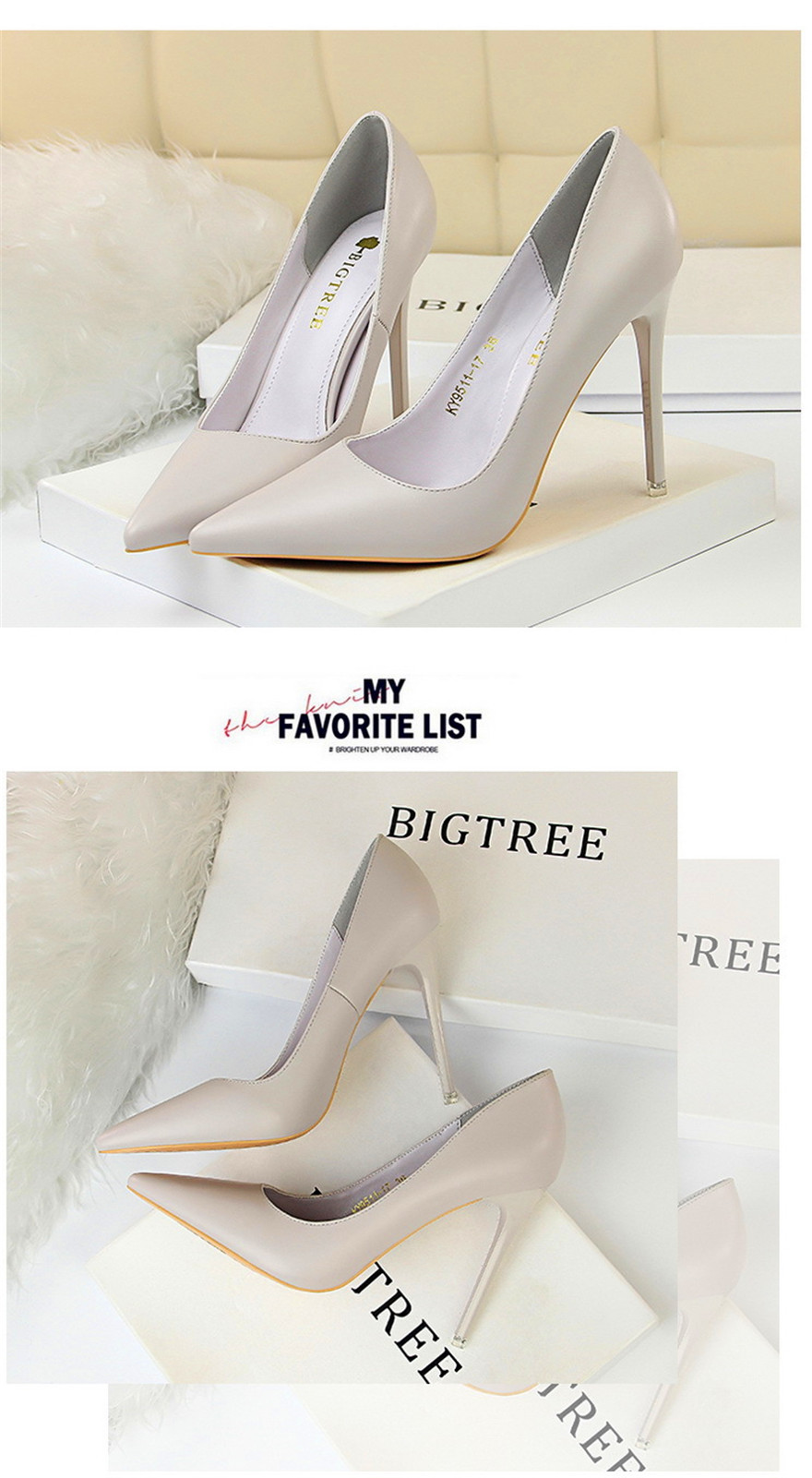 BIGTREE Soft Leather Shallow Fashion Women's High Heels Shoes Candy Colors Pointed Toe Women Pumps Show Thin Female Office Shoe 22