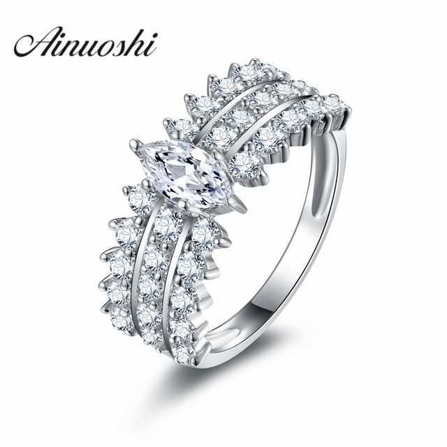AINOUSHI 925 Sterling Silver Marquise Cut Engagement Wedding Ring Fancy  Triple Row Tiny Eternity Anniversary SONA