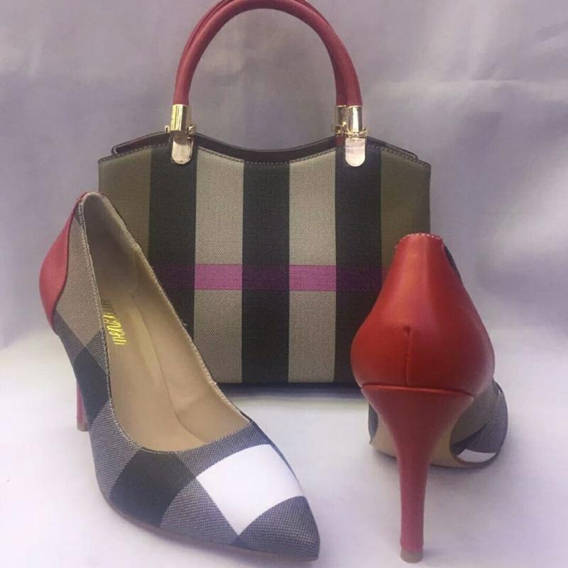 Wenzhan مخطط نمط المرأة مضخات الأحذية مباراة المرأة الناعمة حقيبة مجموعات ، امرأة أشار تو فاخر مصمم الأحذية مع حقيبة A83 14-في أحذية نسائية من أحذية على  مجموعة 3