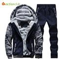 Man's Hoodies&Pants Suit Clothing Man's Winter Plus Velvet Hoodie Men Print Hooded Jacket Coats Long Sleeve And Long Pants