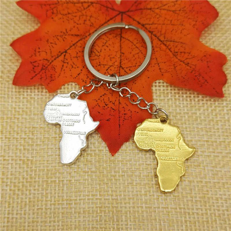 Модные украшения, Африка, карта, брелок, женская сумка, брелок для ключей, Африканский металлический кулон, Модная бижутерия, золотой, серебряный цвет