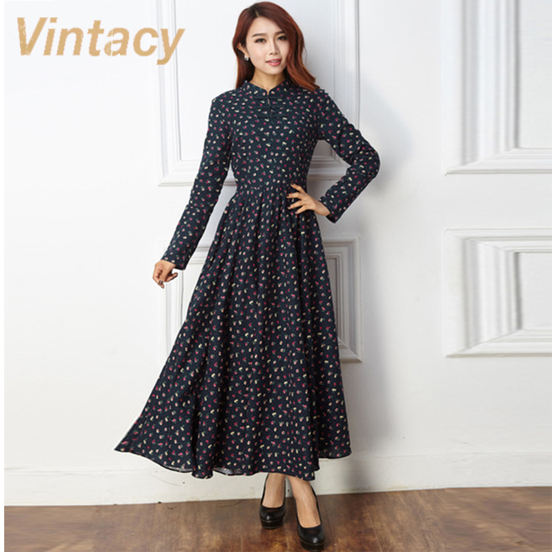 Vintacy Vintage Style Autumn Dress Blue Casual Women Dress