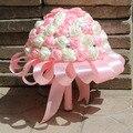 2017 Дешевые Новое Прибытие Свадебный Букет невесты Невесты Белый и Розовый Искусственный Цветок Роза buque де noiva Невесты Букеты