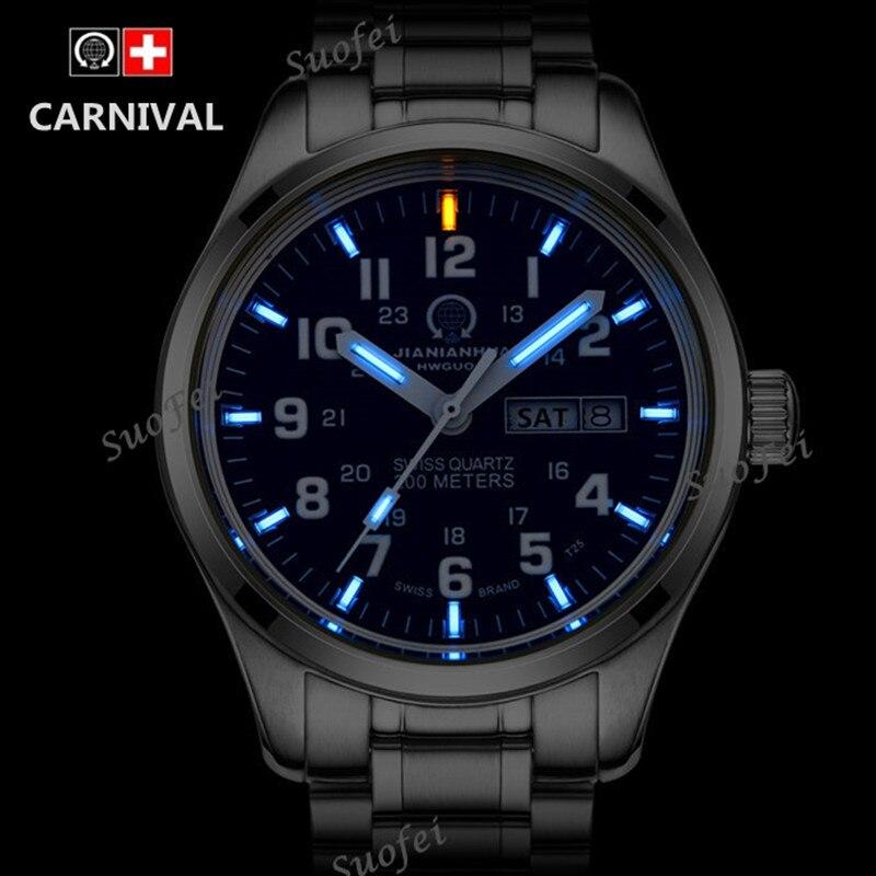 Новый двойной календарь даты T25 трития световой Кварцевые военные часы водонепроницаемый 200 м спортивный бренд часы мужские Полный стали ...