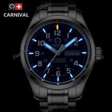 Dubbele kalender Datum T25 Tritium Lichtgevende Quartz militaire horloge waterdicht 200M Sapphire Merk Horloges Heren volledige staal relojes
