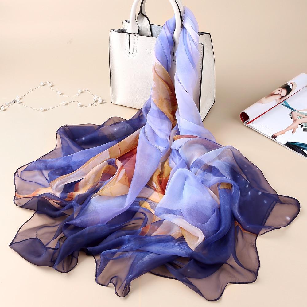 VIANOSI 2019 Brand Silk Scarf Women Flowers Scarves Summer Foulard Femme  Designer Shawl Wrap Fashion Neck Bandana