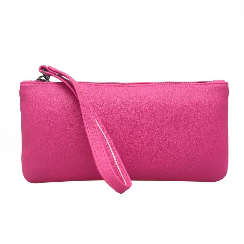 Solid Simple Women Wallets PU Leather Bag Female Zipper Clutch Coin Purse Ladies Wristlet Portable Handbag for Parties Shopping women genuine leather character embossed day clutches wristlet long wallets chains hand bag female shoulder clutch crossbody bag