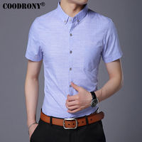 COODRONY Pure Cotton Casual Shirt Men Brand Clothing 2017 Summer New Arrival Solid Color Short Sleeve
