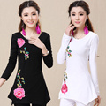 Women's spring and autumn and summer shirt female national trend long-sleeve embroidered irregular medium-long solid color peony