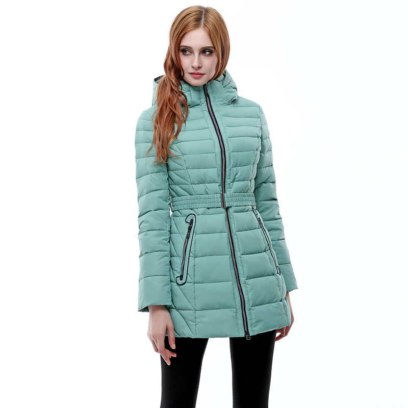 Womens down jacket For Europe and Russia winter Minus 20 degrees warm with a hooded Blue green and pink Thick coat Q308