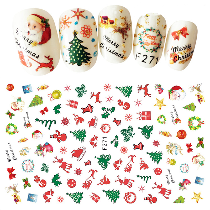 1 Sheet Christmas Nail Art Sticker Colorful Cute Elk Design 3D Self Adhesive Decals Decor Accessories For Kids Xmas DIY Manicure removable sexy hair spa female face sticker art decor mural design for indroom decoration