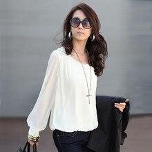 Купить с кэшбэком Vetement Femme 2017 Women Blouses Chiffon Blouse white Shirt Women korean Clothes plus size 4xl chemise femme camisas femininas