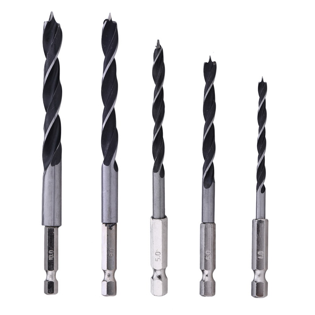 5pcs Drill Bit Set 1/4 Hex Shank Wood HCS Drill Bit Set 4 5 6 8 10mm Quick Change Metalworking Tools Hex Cordless Screwdrivers