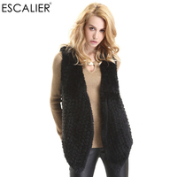ESCALIER 2017 Winter Solid Black Sleeveless Cardigan Fashion Faux Fur Women's Vest Polyester O Neck Casual Coat Free Shipping