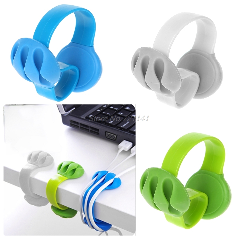 1PC Desk Cable Clip S-Shape Wire Holder Organizer For Phone Charger Headphone Cord Electronics Stocks