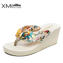 XMISTUO Women Silk Flip Flops Female Summer Beach Wedges Satin Slippers Water-resistant 7CM High-heeled Slippers 6 Color XMC030 xmistuo asual slopes with cool slippers ladiesnoble atmosphere on the grade high heeled shiny diamond slippers simple sandals