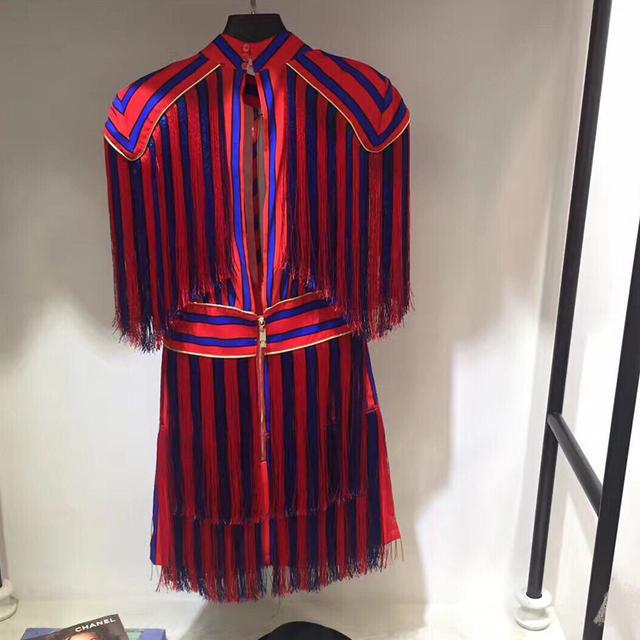 Luxurious Colorful Striped Tassel Dress