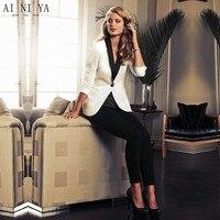 Белая куртка черные брюки элегантные вечерние Повседневная обувь 2 шт. устанавливает Блейзер Женский брюки костюм офис равномерное Для жен