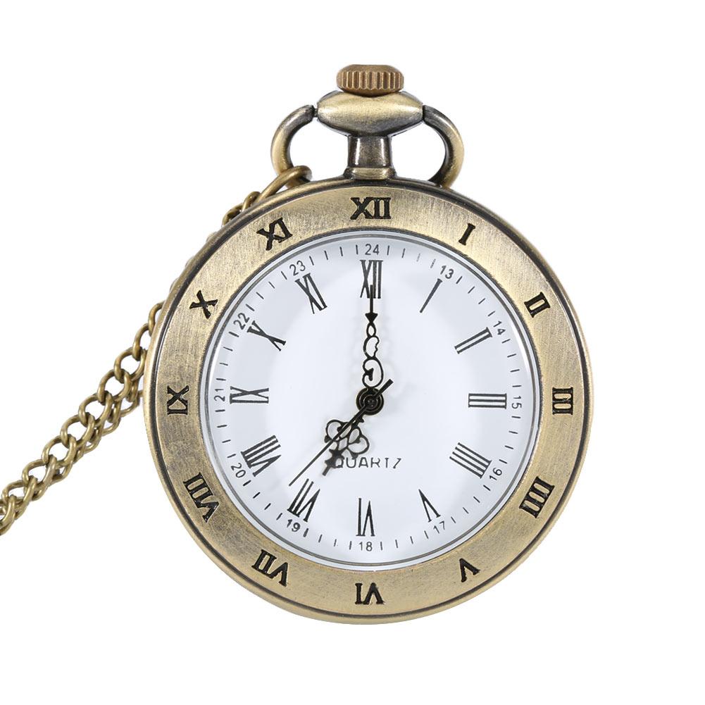 Vintage Transparent Design Pocket Watch Roman Numer Dial Quartz Pendant Chain Necklace Gifts LXH bronze roman pocket watch antique numerals chain necklace pendant quartz lxh