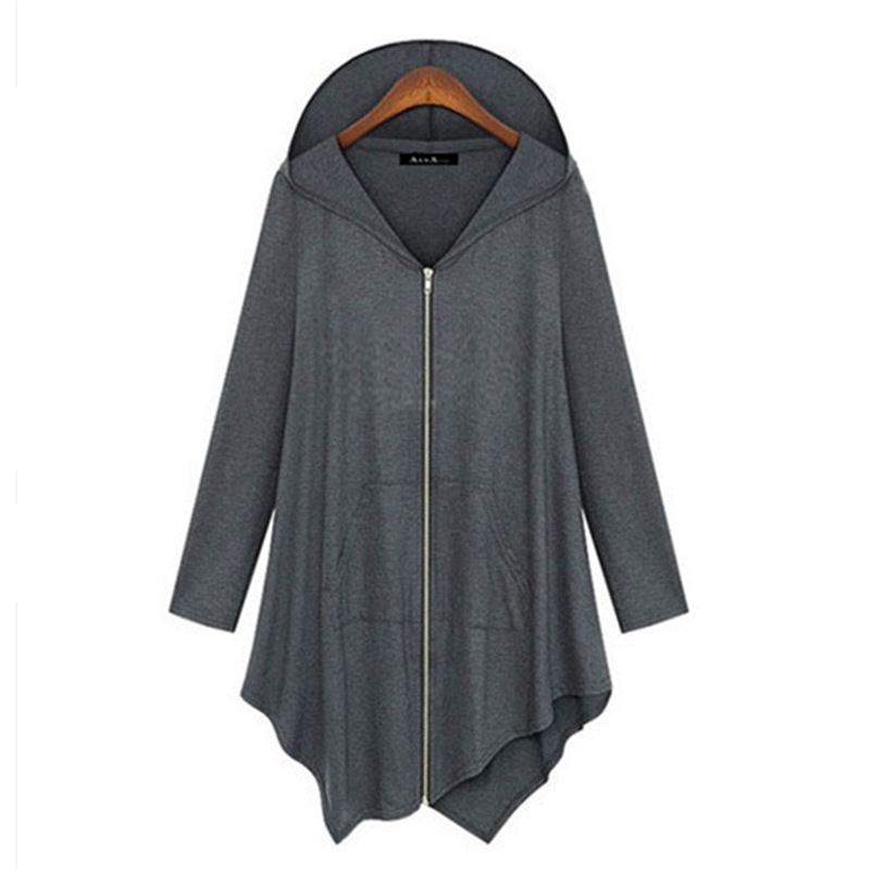 2017 New Women Knitted Loose Sweaters Pockets Long Sleeve Zipper Coat Casual Irregular Plus Size Hooded Dropped Cardigans