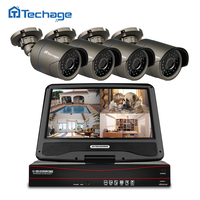 Techage 8CH 1080P POE NVR CCTV System 10 1 LCD Monitor Screen 4PCS Outdoor Security 2MP