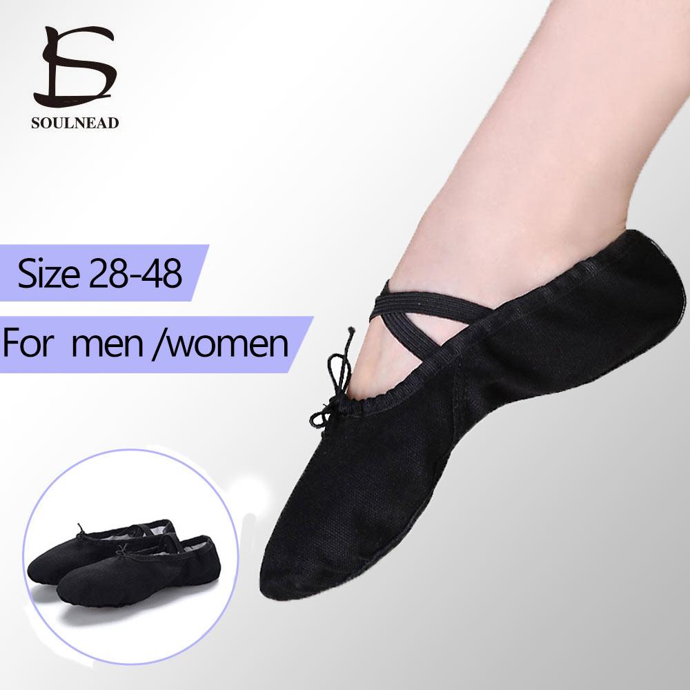 Ballet Dance Shoes Women Large Size 28 48 Canvas Leather Adult/Children Ballet Flats Slippers For Girl Boys Men Gym Dance Shoes