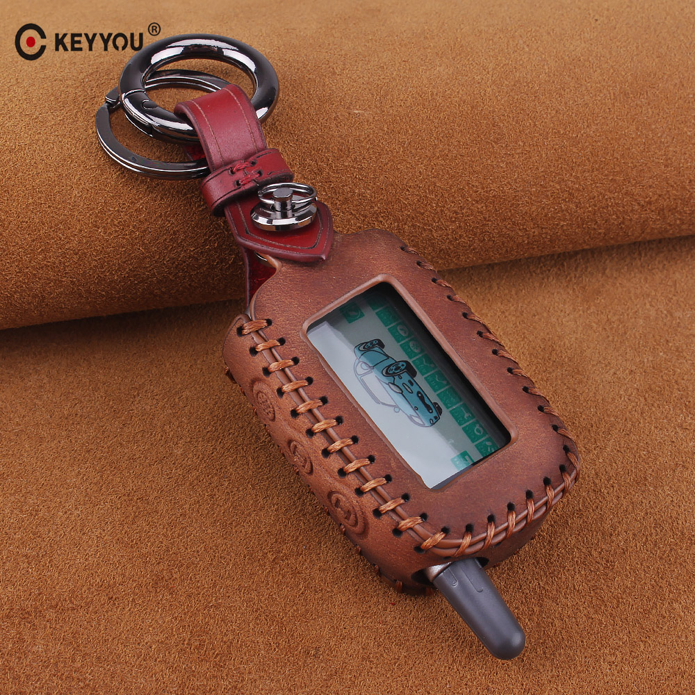 KEYYOU Hight Quality A9 Genuine Leather Key Case Cover For Starline A6 A9 A8 A4 B9 Keychain LCD Way Car Remote 2 Way Alarm