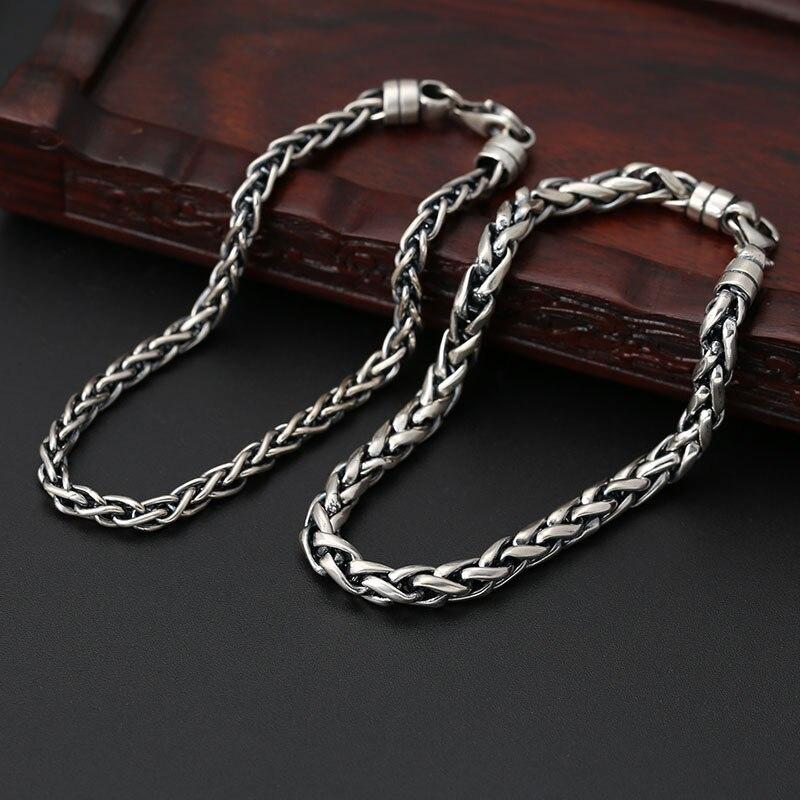 925 Sterling Silver Personality Weaving Bracelets Classic Link Chain Thai Silver Twist Bracelets Jewelry for Women