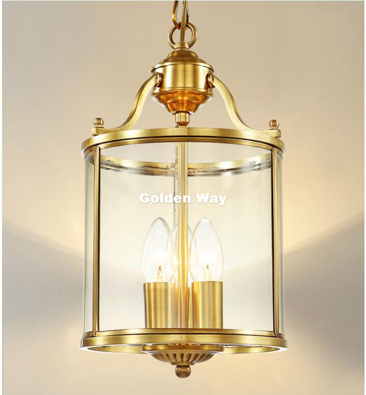 Free Shipping 3L D200mm H360mm LED Brass Pendant Lamp,3Lights, Vintage 100% Copper Glass AC110V/220V Glass Shade Pendant Light modern 3l 5l 6l 8l 10l brass pendant lamp antique brass chandelier vintage total copper glass ac 100% guaranteed free shipping