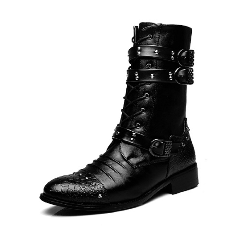 Mens Black Punk Rivet Motorcycle Ankle Boots Pointed Toe Shoes Belt Buckle Winter Riding Fleece Line Spring Warm 2 Styles Black