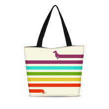 Reusable Canvas Shopping Bags For Women Very Long Dachshund 3D Printing Casual Tote Bag Zip Tote Handbags Foldable Beach Bags цена 2017