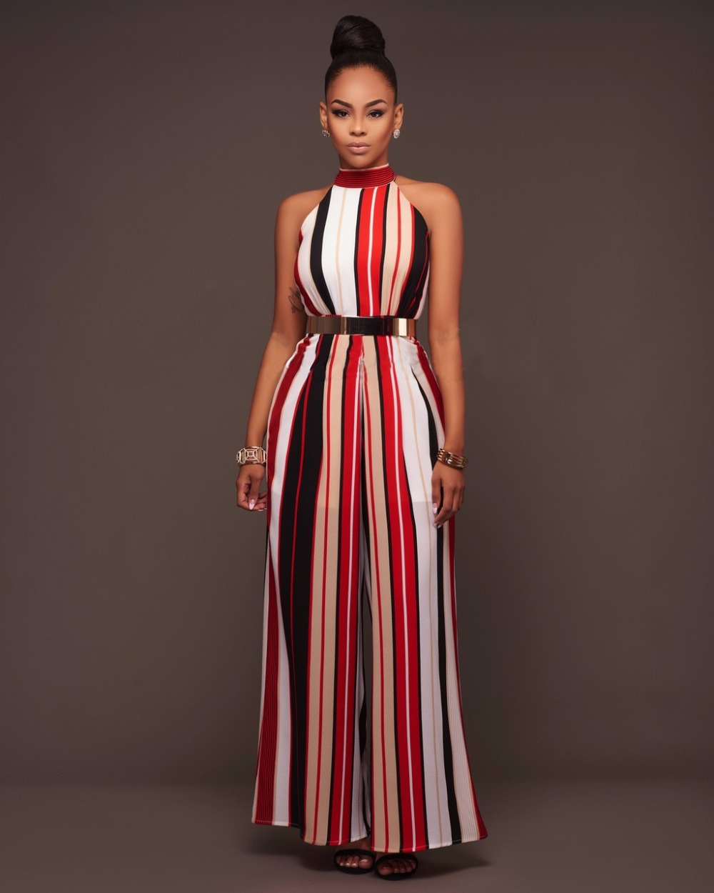 Top quality high design 2017 striped women bodycon   jumpsuit   sleeveless long   jumpsuit   rompers o-neck sexy rompers G037