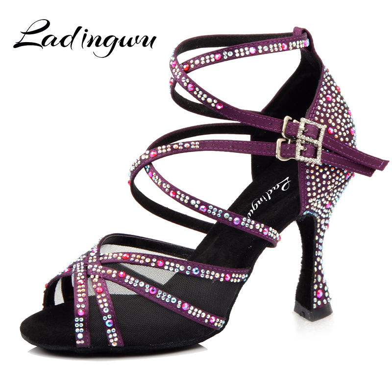Ladingwu Dance Shoes Women Purple Satin Full Rhinestone Latin Dance Shoes Salsa Women Shoes Dancing Ballroom Professiinal