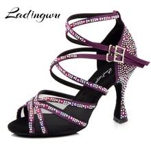 Ladingwu Dance Shoes Women Purple Satin Full Rhinestone Latin Salsa Dancing Ballroom Professiinal