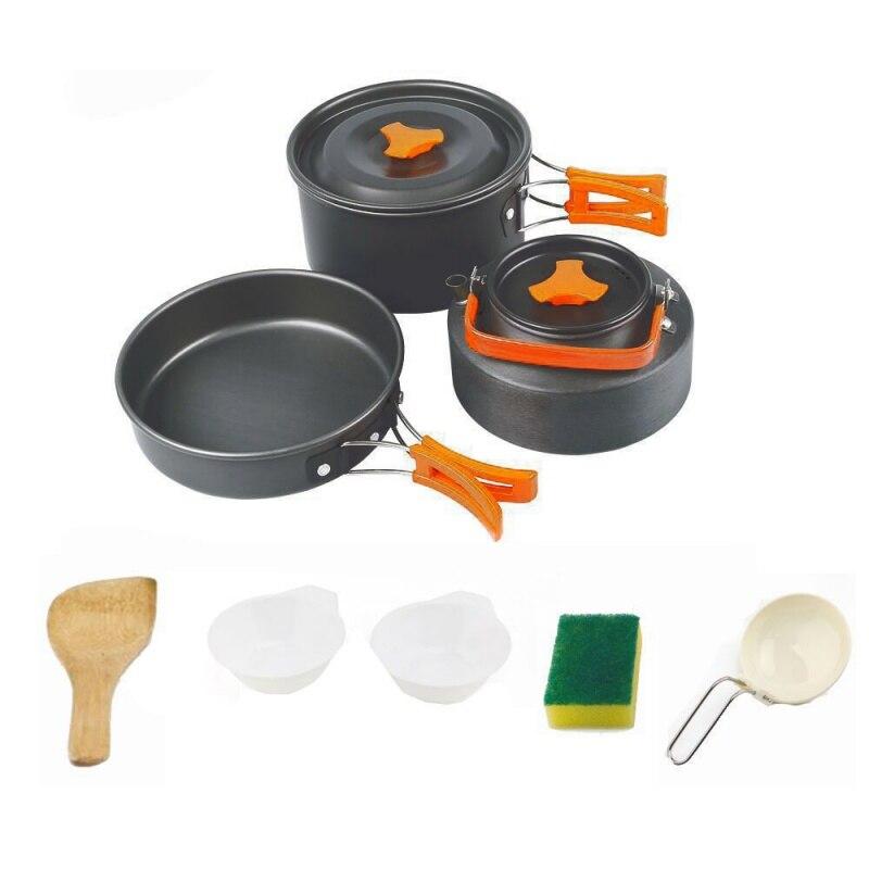 USA livraison en plein air camping vaisselle ensemble Camping batterie de cuisine ensemble voyage vaisselle kit couverts pour randonnée pique-nique